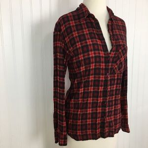 2 for $10 Gianni Bini button up red plaid top XS